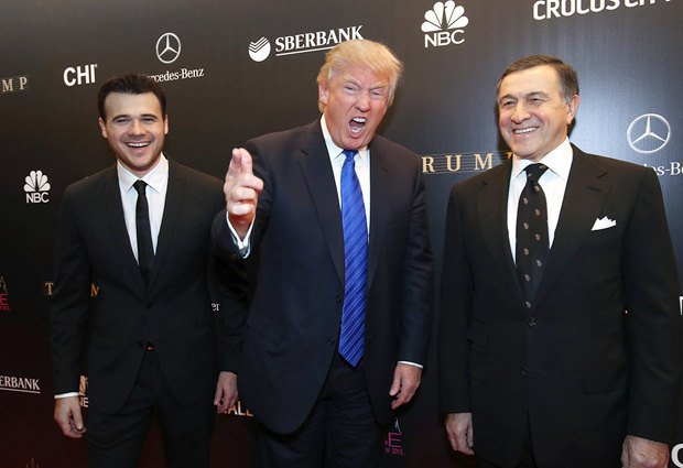 Emin Agalarov, Donald Trump and Crocus Group president Aras Agalarov before the finals of the 2013 Miss Universe in Crocus City Hall.