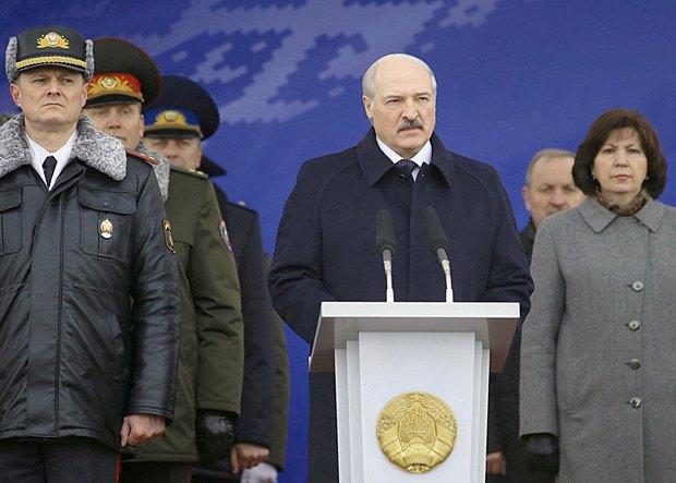 Lukashenka during a parade in Minsk