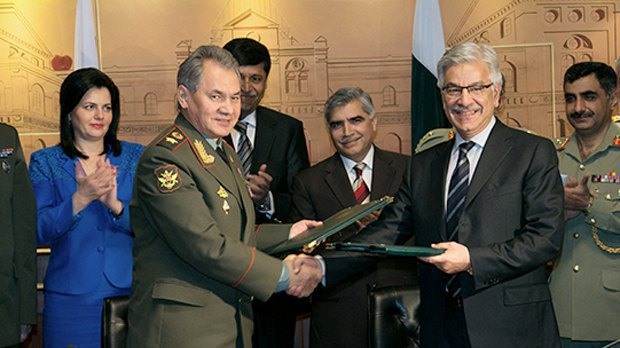 Russian Defence Minister, Army Gen Sergey Shoygu with his Pakistani counterpart Khawaja Asif