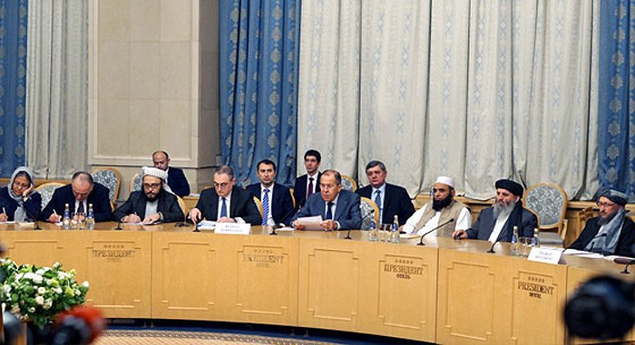 Russian Foreign Minister Sergey Lavrov and a Taliban delegation during the international conference on Afghanistan in Moscow, 9 November 2018
