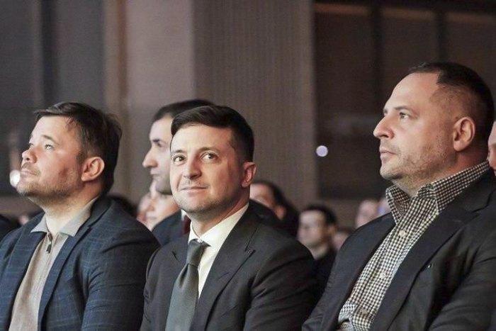 (left to right) Andriy Bohdan, Volodymyr Zelenskyy and Andriy Yermak