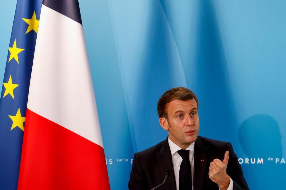 Emmanuel Macron speaks at the Paris Peace Forum on 12 November 2020