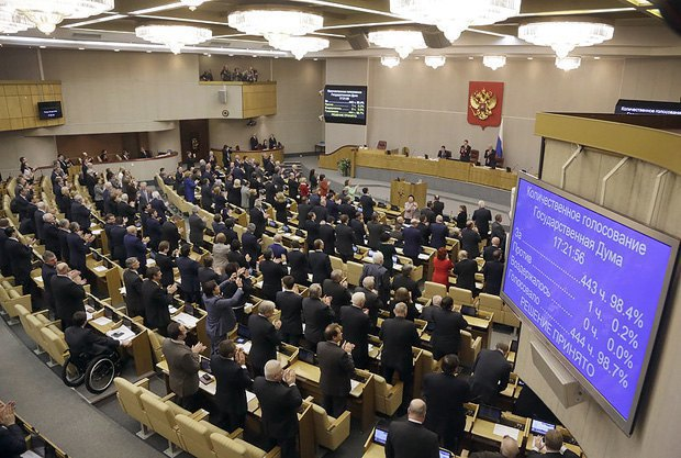 The Russian State Duma ratified the agreement on the accession of Crimea to Russia and adopted the law on the formation of two new entities within the Russian Federation - Crimea and Sevastopol, 20 March 2014