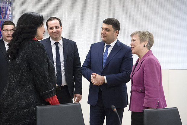Ukrainian Prime Minister Volodymyr Groysman and members of the Ukrainian delegation meet acting NATO Secretary-General Rose Gottemoeller