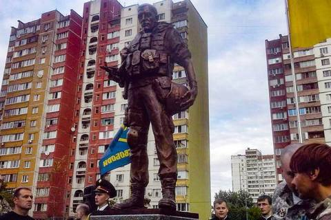 ​Monument to volunteer combatants opened in Kyiv's Troyeshchyna