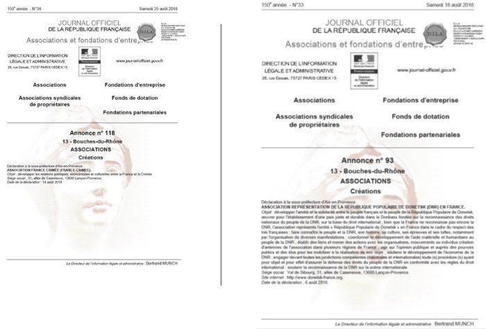 Acts of registration of the new associations: the representative offices of the DPR and Crimea in France