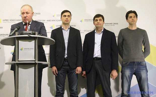 Viktor Chumak, Yehor Firsov, David Sakvarelidze and Vitaliy Kasko at a news conference in Kyiv on 29 March 2016.