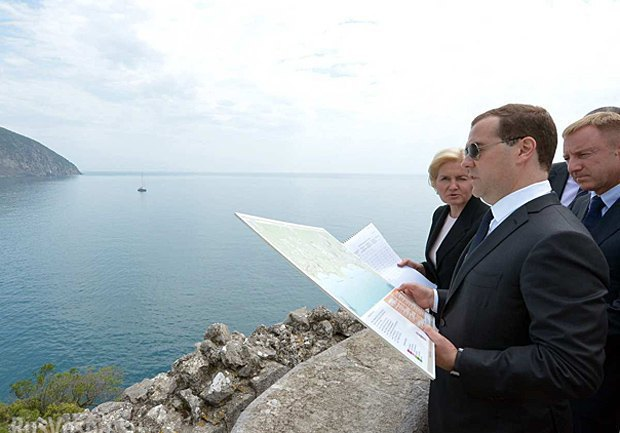 Russian Prime Minister Dmitriy Medvedev on a visit to Crimea
