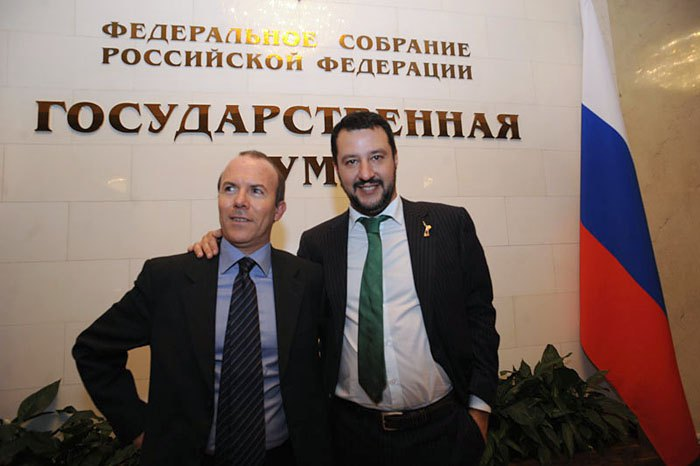 Gianluca Savoini and Matteo Salvini during a visit to Moscow