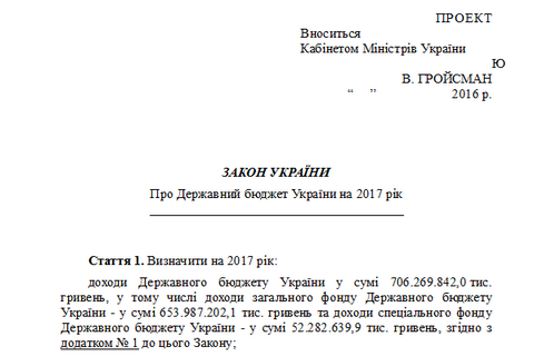 Draft 2017 budget posted on Ukrainian parliament website