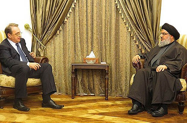 Russian Deputy Foreign Minister Mikhail Bogdanov and Sheikh Hassan Nasrallah, 6 December 2014