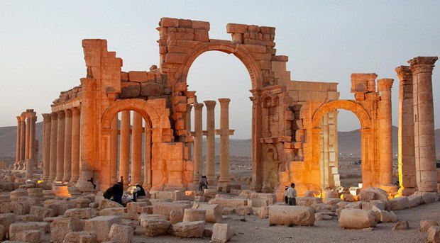The ancient city of Palmyra and what remained of it