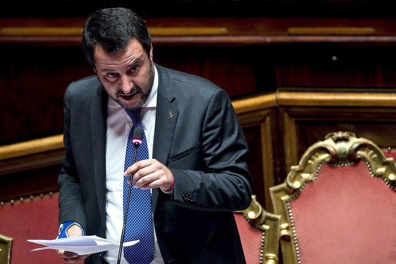 Italian Deputy Prime Minister and Interior Minister Matteo Salvini during a speech in the Senate, Rome, 25 October 2018