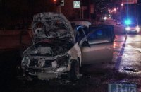 Car burns down in downtown Kyiv