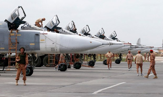 Russian bombers at a Syrian military base