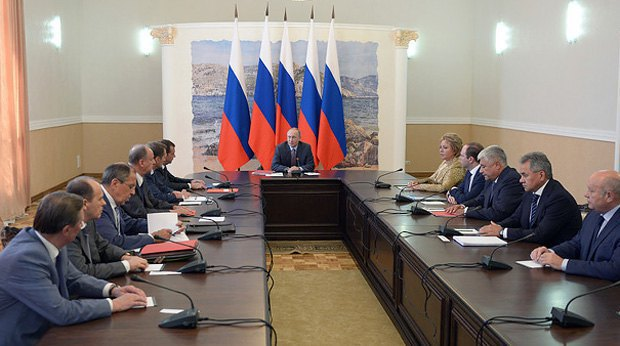Putin at the Russian Security Council meeting at Belbek airport in Crimea, 19 August 2016