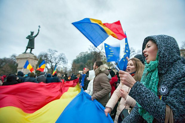 Rally against Dodon's election as Moldovan president after the announcement of election results