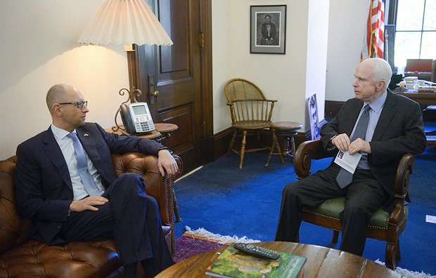 During a trip to Washington, Yatsenyuk met Senator McCain