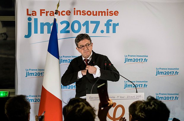 Jean-Luc Melenchon at a news conference after the announcement of the election results.