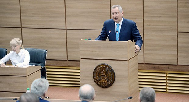 The Russian president's special envoy to the Dniester region, Dmitriy Rogozin, takes part in the Dniester parliament meeting during a visit to Tiraspol.