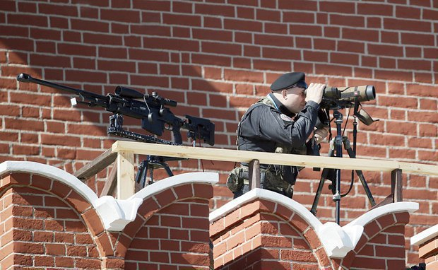 A sniper during a military parade rehearsal on Moscow's Red Square, 7 May 2015