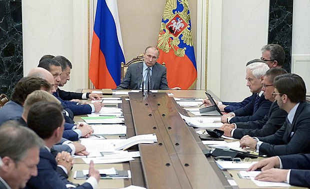 Russian President Vladimir Putin at a government meeting, 22 July 2016
