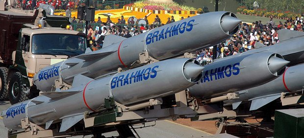 The Brahmos missiles during the parade on Day of Republic in New Delhi, India