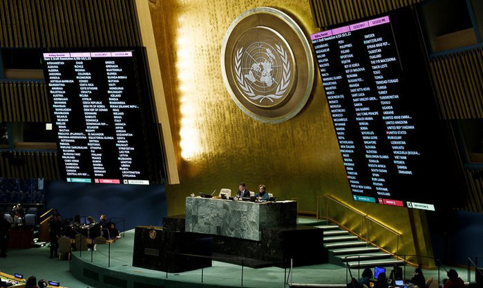 The screens show the results of the vote at a special session of the UN General Assembly condemning recent US decisions regarding the status of Jerusalem, New York, USA, 21 December 2017