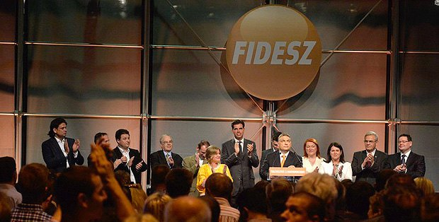 Viktor Orban speaks in Budapest about the party's score in the parliamentary election on 25 May 2014.