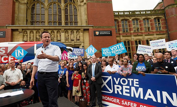 David Cameron campaigning against leaving the EU