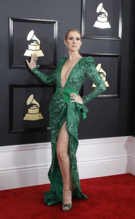 Селин Дион была в платье со смелыми разрезами