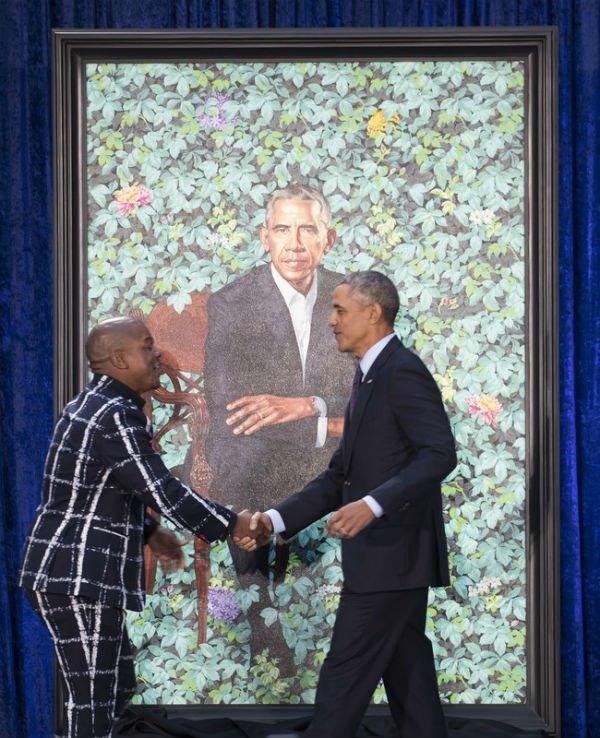 Барак Обама благодарит художника Кехинде Уайли за портрет