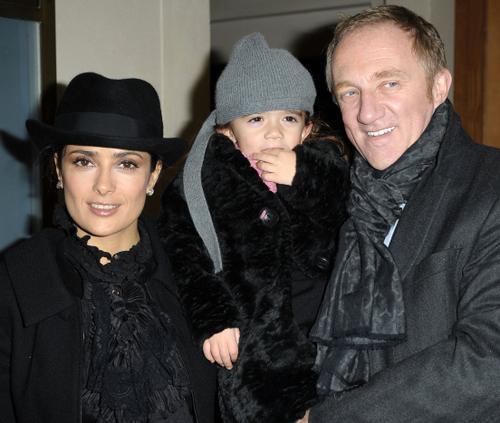 Пино, его жена Сальма Хайек и дочь Мария Палома