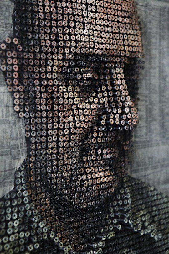Объемные портреты из шурупов Эндрю Майерса