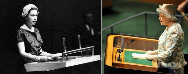 Полвека спустя: королева Елизавета на трибуне генассамблеи ООН в Нью-Йорке в 1957 году и там же - в 2010-м