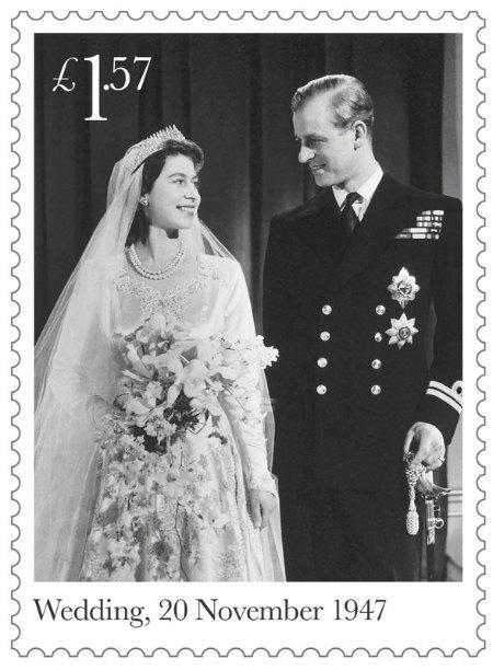 Марка, посвященная годовщине свадьбы королевы Елизаветы