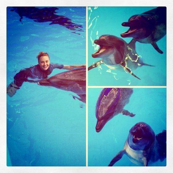 Ева Бушмина поплавала с дельфинами