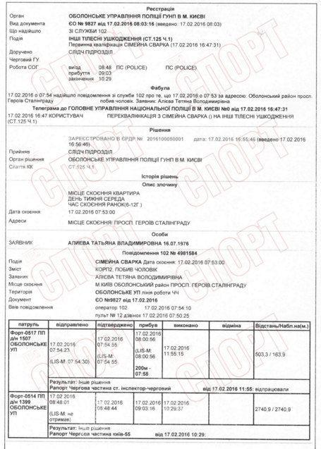 Полицейский протокол по инциденту с Алиевым