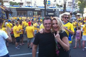Юрий Фалеса и Маша Гойя болели за Украину в фан-зоне