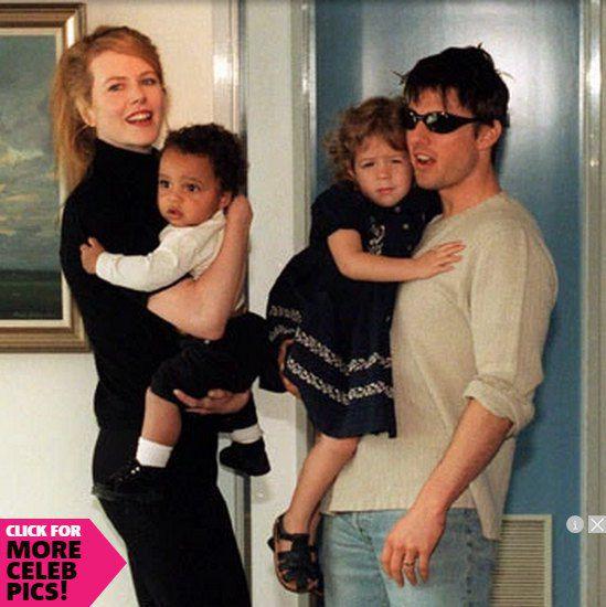 Николь Кидман и Том Круз с приемными детьми в середине 90-х