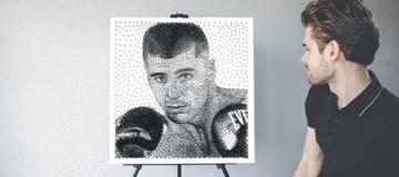 Боксер Гвоздик получил в подарок портрет из гвоздей