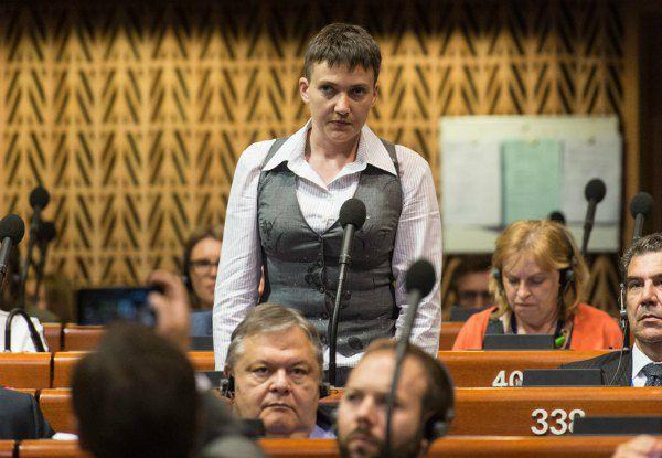 Надежда Савченко в зале заседаний ПАСЕ