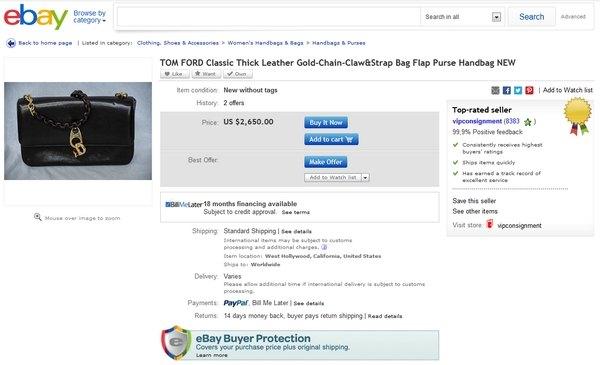 На eBay за сумочку от Tom Ford просят $2,650