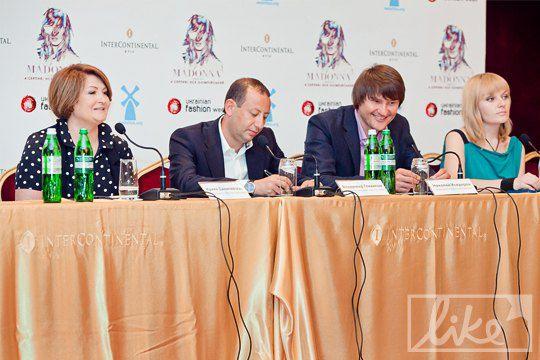Участники пресс-конференции посвящанной концерту Мадонны в Украине