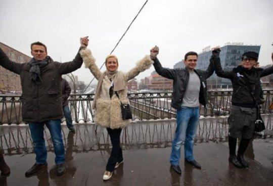 Ксения и Илья на акции за честные выборы 26 февраля