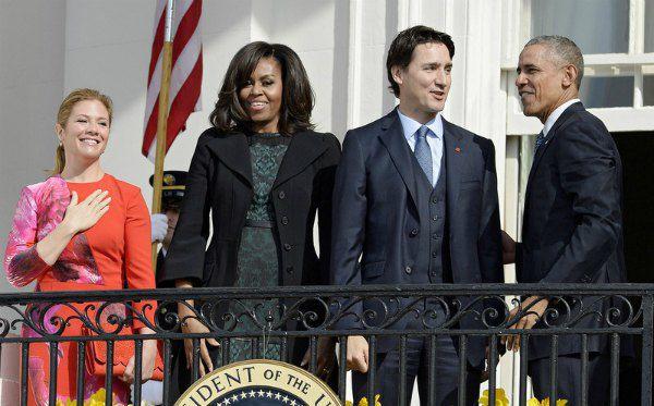 Софи Грегуар-Трюдо, Мишель Обама, Джастин Трюдо, Барака Обама на террасе Белого дома