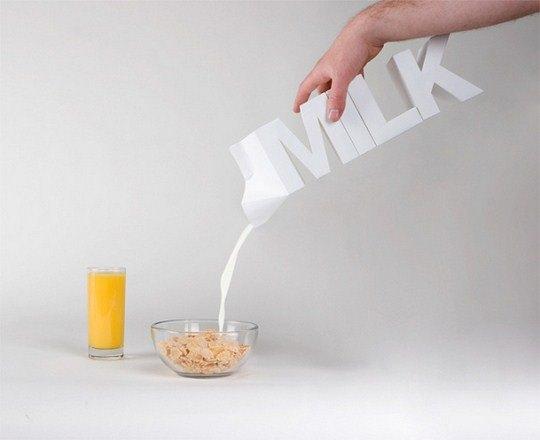 Мастерски владея секретами типографики, канадские дизайнеры Julien De Repentigny и Gabriel Lefebvre представили концепцию молочной упаковки, которой позавидовали бы даже иллюзионисты