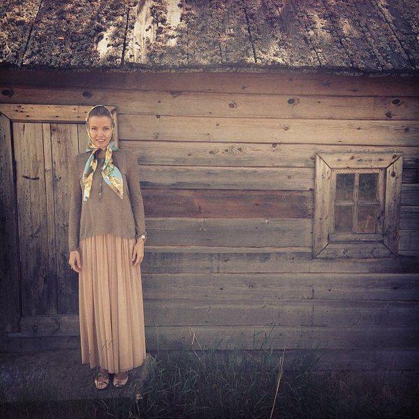 В таком скромном виде модель посетила Валаамский монастырь