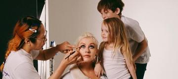 Кристина Агилера с детьми снялась для глянца