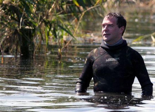Медведев изучает подводный мир с фотоаппаратом